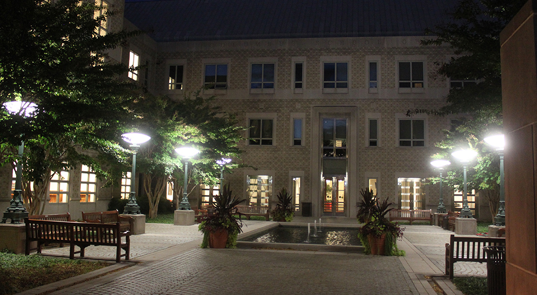 evening photo of the law school courtyard