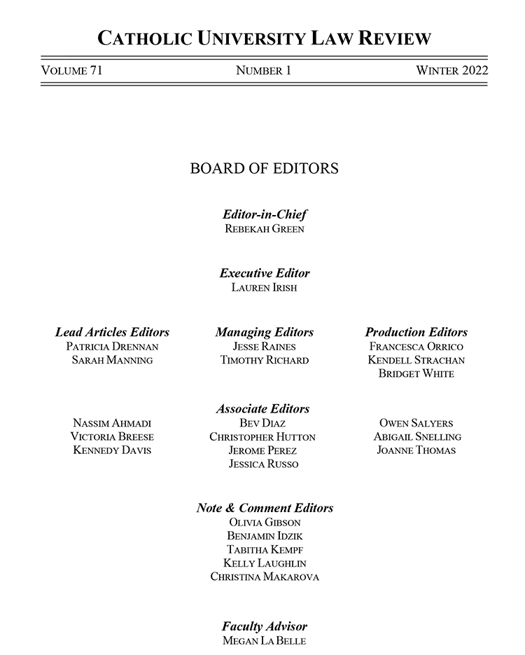 Law Review 71 Masthead