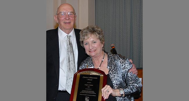Ralph Rohner with Monica Rohner after receiving the Lifetime Achievement Award from the Catholic University Law Review